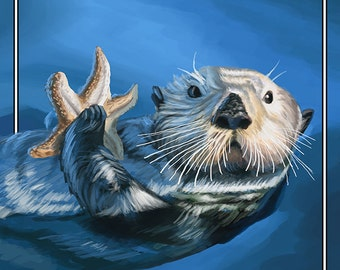 Bodega Bay, California - Sea Otter (Art Prints available in multiple sizes)