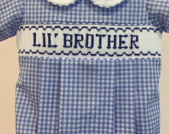 Lil' Brother Hand Smocked Bubble