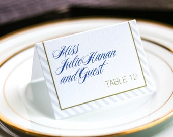 "Modern Wedding Reception Decor, Blue and Gold Special Event Placecard, Striped Custom Card - ""Sweeping Script"" Tented Placecard v4 - DEPOSIT"