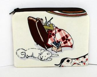 Notions Bag, Small Zipper Pouch, Winter Pleasure Knitting