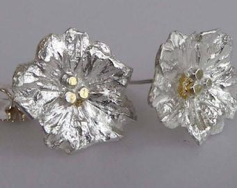 Silver flower earrings post & scroll studs cast from real flowers