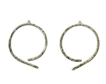 Sterling silver thin hammered hoop earrings, large studs, minimal earrings, open loops, big circle earring, geometric jewelry, unique hoop