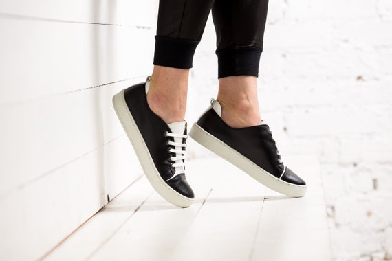black sneakers platform TL0024 running skool shoelaces trainers shoes white Handmade women with old gift Leather sport vans keds girlfriend fqWE5