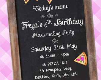 Printed Personalised Pizza Party Invitations X10