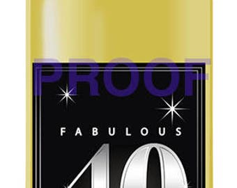 Instant Download Fabulous 40th Birthday Wine Label - Fabulous 40