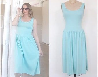 Vintage Mint green Tank Dress, Jersey Midi Dress, Sporty Dress