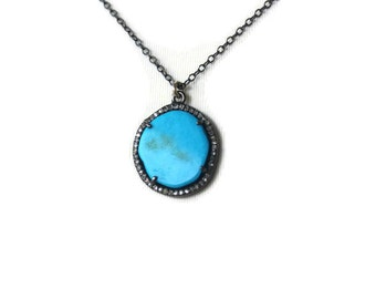 Sleeping Beauty Turquoise Diamond Framed Pendant,Blue sky Turquoise, Gemstone Pendant, Gift for her by SylviaJewelry