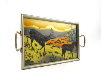 Rare original art deco serving tray 30s cocktail tray with deer litho highly collectible