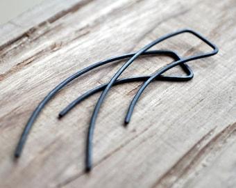 Black Oxidised Streamlined Earrings. Simple Sterling Silver. Modern Contemporary Sleek Elegant Design.