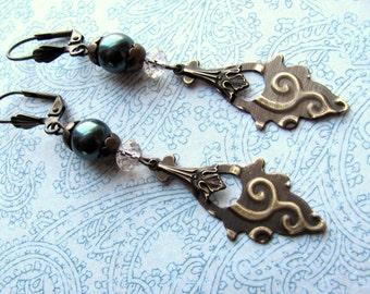 Blue Pearl Earrings, Vintaj Brass, Swarovski Earrings, Pearl Earrings, Downton Abbey, Victorian Earrings, Edwardian Earrings, Blue Earrings