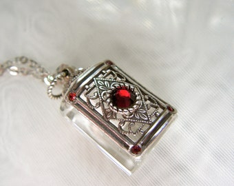 Vintage Inspired Silver Filigree Red Rhinestone Crystal Perfume Bottle Necklace