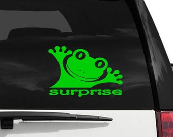 Surprise Frog Decal - Vinyl Decal for your Car, Window, Laptop - Window Cling Decal - Vehicle Decal - Vinyl Window Decal for Car