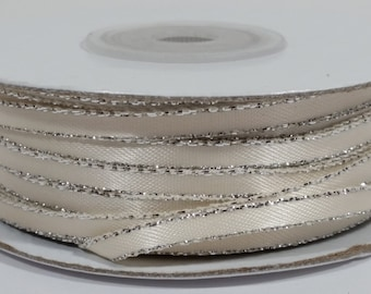Satin Ribbon with Silver Edge - Ivory