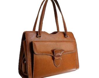1950 french leather handbag