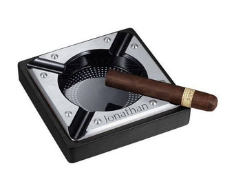 Personalized Cigar Ashtray, Metal and Black Matte Wood Cigar Ashtray, Groomsmen gift, Father's Day, Anniversary, Retirement Gift - VASH407BL