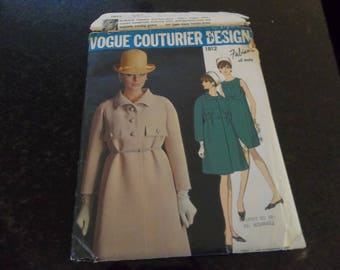 Vogue Couturier Design 1812 Fabiani of Italy Vintage Sewing Pattern Size 16 Bust 36 Misses Dress Coat Women's Dress Some Cut