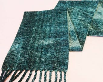 Handwoven Rayon Chenille Scarf, Teal Scarf, Chenille Scarf, Handwoven Scarf, Handwoven Chenille Scarf, Woven Scarf, Seafoam Scarf (#17-08B)