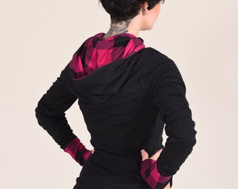 Buffalo Plaid Lowrise Boyshort Panties Black Hot Pink Purple soft Knit Lingerie Womens Small Medium Large Xlarge
