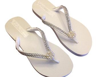 Bridal Flip Flops, Bridal FlipFlop, Wedding Flip Flops, Pearl Rhinestone Flip Flops, Bridesmaid, Beach Wedding - 30 Colors Available