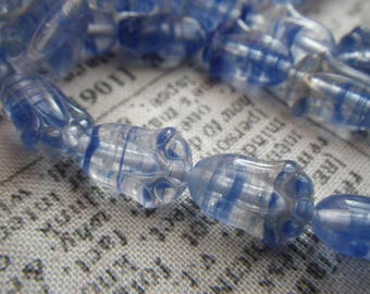 Hurricane Style Blue and Clear Tulip Flower Beads New Pressed Glass 20x8mm 25 Pcs