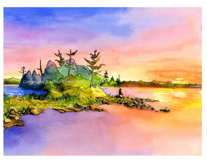 Sunrise Sunset Colors Reflecting In Water Watercolor Pen And