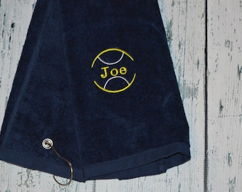 Personalized Tennis Towel Custom Embroidered