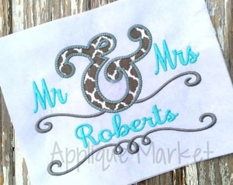 Machine Embroidery Design Applique Mr and Mrs Ampersand INSTANT DOWNLOAD