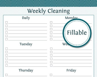 Weekly Cleaning Checklist - Fillable - Prefilled and empty version included - Printable PDF - Instant Download - Cleaning Checklist