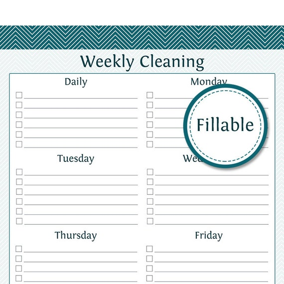 Weekly Cleaning Checklist Fillable Prefilled And Empty