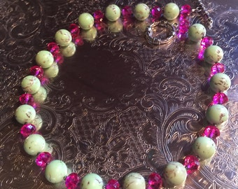 Mint and Pink Bead Necklace and Bracelet