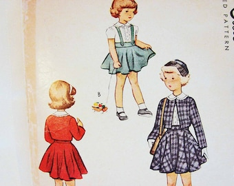 McCalls 1940s Girls Dress Pattern size 8 Bolero Jacket, Blouse, Suspender Flare Skirt Vintage Sewing Pattern
