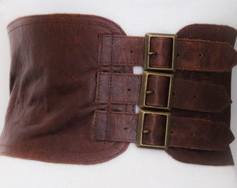 Brown Corset Leather Three Buckle Belt | Brown Waist Belt | Corset Wide Belt | Leather Buckle Belt | Buckle Belt | Plus Size