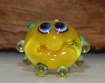 Squeedle Charm ClipLampwork Yellow Green Octopus Cute Character Diabetes Ocean Sealife Flower Fun