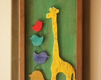 Giraffes and Birds: Nursery Wall Art