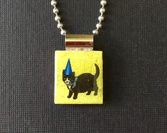 Cat scrabble pendant, handmade kitty jewelry, kitty cat necklace, recycled scrabble tile pendant, cat lover's gift, cat in hat, birthday hat
