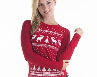 Women's Retro Reindeer Long Sleeve T-shirt - Alternative to a Christmas Jumper, Xmas Holidays Ugly Sweater - Festive Red