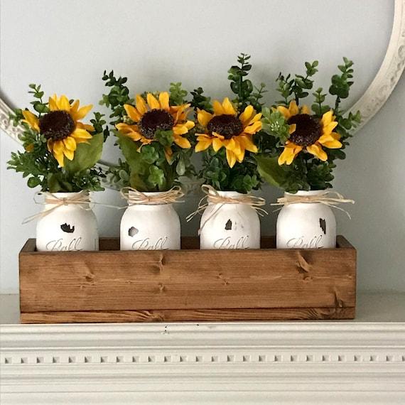 Mason Jar Decor, Rustic Home Decor, Mason Jar Centerpiece, Farmhouse, Mason Jar Decor Wedding, Mason Jars, Sunflower Decor Mason Jar
