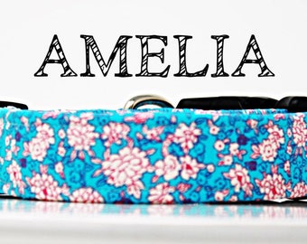 Ameila - Floral Handmade Collar with Blues and Pinks