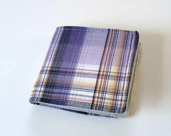 Vegan Wallet, Slim Cotton wallet, Personalized, Boyfriend Gift, for Guys or Girls, Men or Women in Purple Plaid, 2018 ultra violet