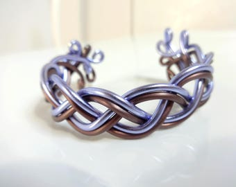 Bracelet woven lilac and chocolate - aluminum