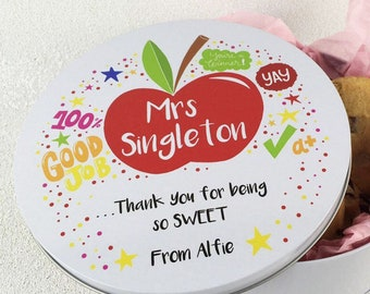 Personalised Teacher Cookie Tin -  Thank You For Being So Sweet - Gift Idea - Bright Design