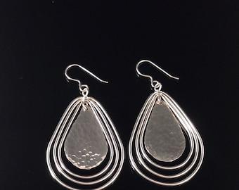 Hammered Twirly Teardrop Earrings in Solid Argentium Sterling Silver