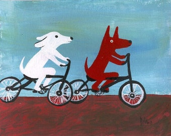 Dogs Ride BIKES Art Note Card - Bicycle Folk Outsider Art - White Dog with Red Brown Dog