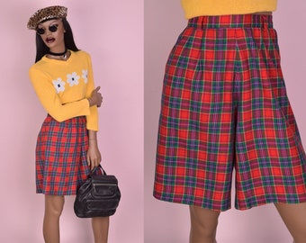 80s Plaid High Waisted Shorts/ 26 Waist/ 1980s