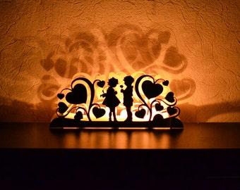 Valentines day decor Valentine decorations light decor wooden Heart Love sign Boy Girl Wood Mantle Window Decorations candlestick
