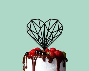 Wedding Cake Topper, Geometric Heart, Cake Topper, Wedding Cake Decor
