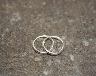 Small 12mm Sterling Silver Endless Hoop Earrings, Minimalist Style, Ready to Ship