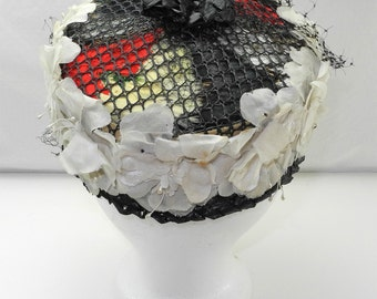 Vintage Pillbox Hat Red/Black/White Feathers - Flowers - Black Netting