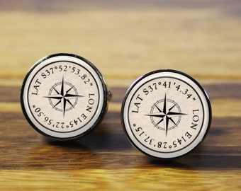 Co-ordinates - Personalized wedding cufflinks - gift for the Groom, Father of the Bride, bridal party (stainless steel cufflinks)