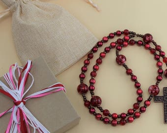 Traditional Rosary: Red Beads with Copper Cross